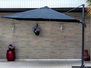 10  Deluxe Patio Umbrella with lED lights by Havenside Home  Base Included  Retail 799 99