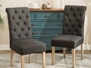 Roundhill Furniture Habit Solid Wood Tufted Parsons Dining Chair  Charcoal  Set of 2