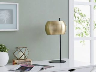 Strick   Bolton Zubley Brass Midcentury Modern Black Metal Table lamp