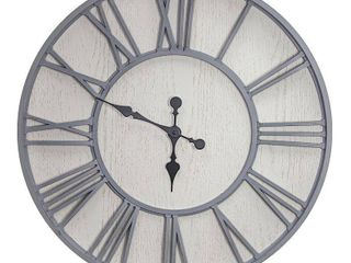 MDF and Plastic Oversized Wall Clock   Whitewashed   30  Retail 105 99