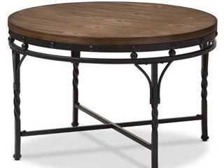 Austin Vintage Industrial Round Coffee Cocktail Occasional Table   Antique Bronze   Baxton Studio