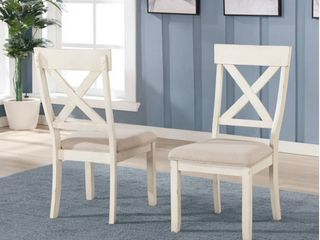 Prato Antique White Wood Cross Back Upholstered Dining Chairs  Set Of 2