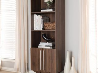 Mid Century Brown Bookcase by Baxton Studio  Retail 206 99