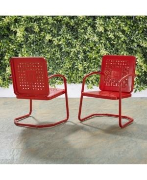 2pk Bates Outdoor Metal Chairs Red   Crosley