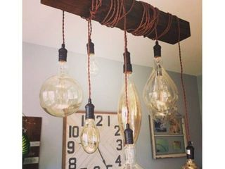 Farmhouse 8 light Distressed Wood Beam Chandelier  Retail 192 49