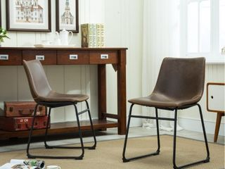 Roundhill Furniture lotusville Vintage Upholstered leather Dining Chairs  Antique Brown  Set of 2