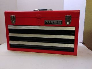 Craftsman portable 2 5 inch ball bearing 3 drawer red steel lockable tool box