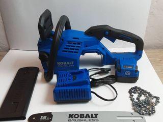 Kobalt 24v Max Brushlesss Cordless 12  Chainsaw 1447232 W  Battery   Charger