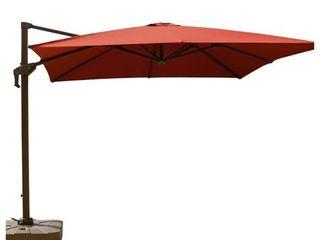 Isola 10 ft  Cantilever Square Parasol Patio Umbrella in Sunbrella Fabric Canvas Henna