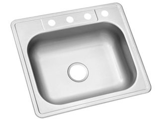 Glacier Bay Drop In Stainless Steel 25 in  4 Hole Single Bowl Kitchen Sink  Silver