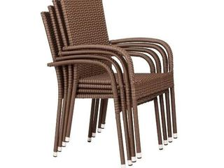 4pc Stackable Wicker Outdoor Patio Chairs