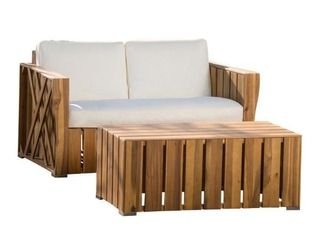 lyla Natural Stained 2 Piece Wood Patio Conversation Set with Cream Cushions