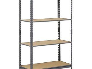 Edsal Gray 4 Tier Heavy Duty Steel Garage Storage Shelving  36 in  W x 60 in  H x 18 in  D