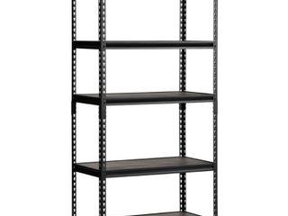 Edsal Shelves 36 in  W x 72 in  H x 18 in  D Steel Commercial Shelving Unit Black UR 185WGB