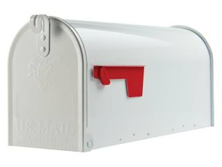 Gibraltar Elite Medium  Galvanized Steel  White Post Mount Mailbox