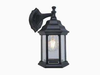 Project Source 11 8a Wall lantern  Clear Beveled Glass W  Black Finish