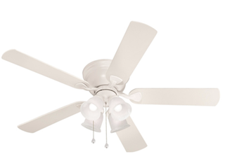 Harbor Breeze Centreville 52 in White Indoor Flush Mount Ceiling Fan 0807435