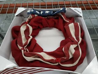 Red white and blue Burlap Wreath
