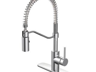 EZ FlO Metro Collection Single Handle Pull Down Sprayer Kitchen Faucet in Chrome  Grey