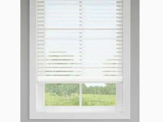 lEVOlOR Trim Go 2 5 in Cordless White Faux Wood Room Darkening Blinds  Common  35 in  Actual  34 5 in x 48 in