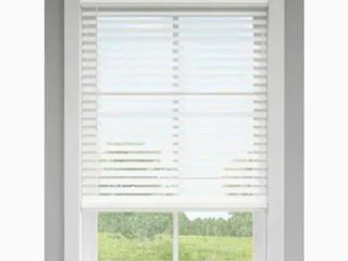 lEVOlOR Trim Go 2 5 in Cordless White Faux Wood Room Darkening Blinds  Common  34 in  Actual  33 5 in x 72 in