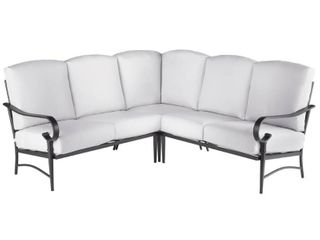 Hampton Bay Oak Cliff 3 Piece Steel Outdoor Sectional With Bare Cushions