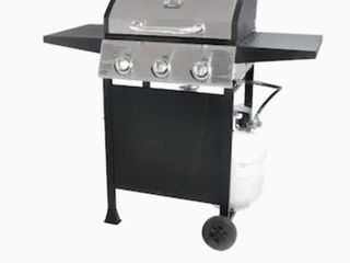 Blue Rhino Black and Silver Porcelain and Stainless Steel 3 Burner liquid Propane Gas Grill