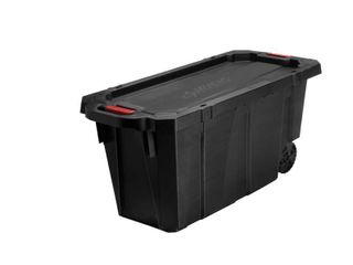 Husky 45 Gal  latch and Stack Tote with Wheels in Black