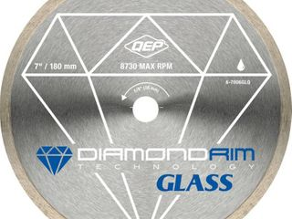 QEP 6 7006GlQ 7 Inch Glass Tile Diamond Blade  7mm Continuous Rim  5 8 Inch Arbor  Wet Cutting  8730 Max RPM