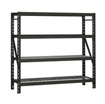 Husky Black 4 Tier Heavy Duty Steel Garage Storage Shelving  77 in  W x 78 in  H x 24 in  D
