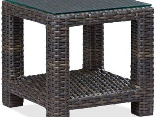 Square Wicker Patio End Table with Glass Top