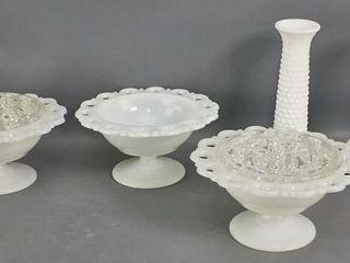 Milk glass pieces