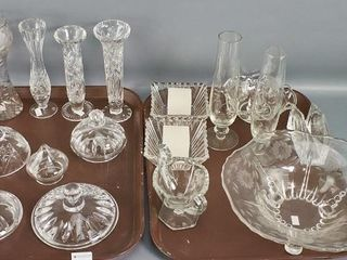 Tray lots of etched crystal