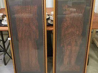 Pair of Framed Grave  Rubbings