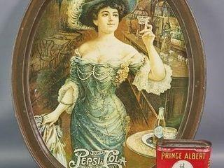 Pepsi Cola Tray and Prince Albert Tobacco Tin