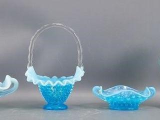 Opalescent blue glass