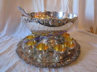 SIlVERPlATE PUNCH BOWl   CUPS