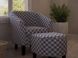 Porch   Den Brust Dark Blue Club Chair and Ottoman