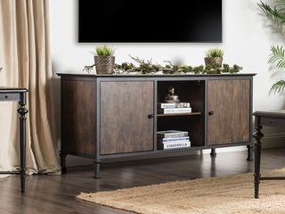 Furniture of America Dele Industrial 60 inch Oak 2 cabinet TV Stand Retail 436 99