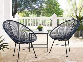 Corvus Sarcelles Wicker Patio Chairs Set of 2
