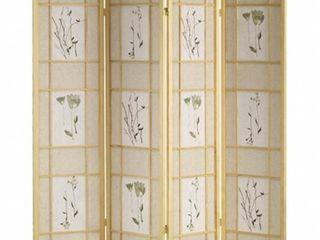 ORE International Shoji Natural 4 Panel Floral Screen Divider
