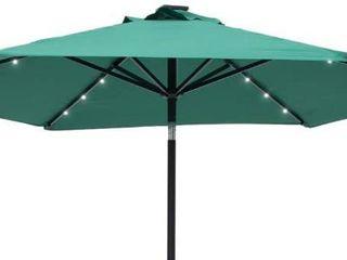 Outdoor 9  Patio Umbrella Sun Shade Offset With Solar lED light  Tilt and Crank
