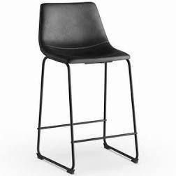 Carbon loft Prusiner Black Faux leather Counter Stools  Set of 2  Retail 168 41