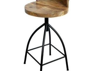 Benzara Mango Wood Counter Height Stool  Brown