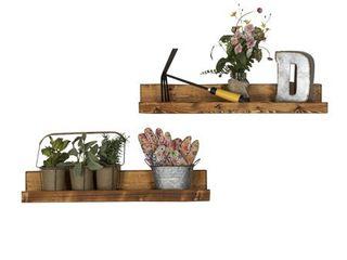 Del Hutson Designs Handmade Rustic luxe Floating Shelf  Set of 2