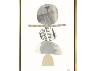 Designart  Geometric Balance Neutral I  Shabby Chic Framed Canvas   Grey  Retail 139 99