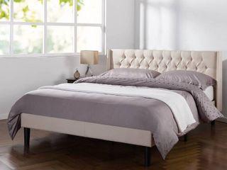 Tufted Wingback Upholstered Platform Bed