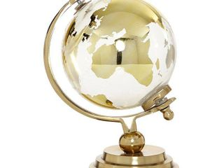 Small Gold Metal   Glass Globe with Topographical Map in Axis Frame 6  x 11