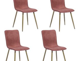 FurnitureR Scargill Coral Upholstered Textured Fabric Dining Chairs  Set of 4  Dark Pink
