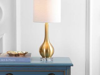 Jonathan Y Dylan 25  Metal Crystal Teardrop lED Brass Table lamp